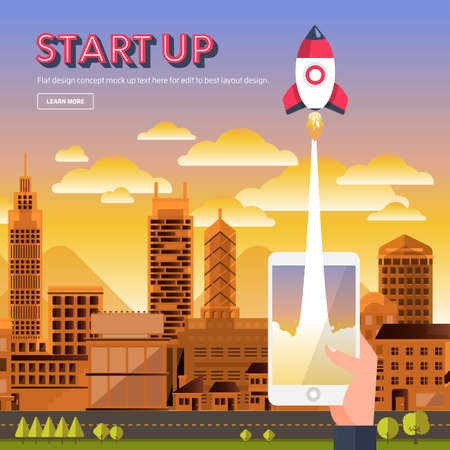 illustrate present concept STARTUP with rocket represent success business process. Flat design