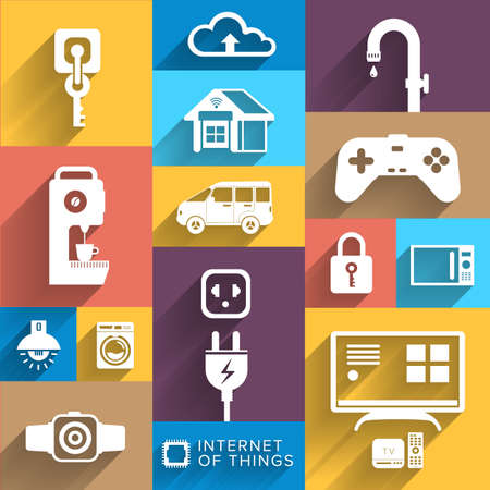 illustrate: Vector illustrate design concept internet of things ( IOT ) flat icon style and element for banner , website , blog and other digital media.