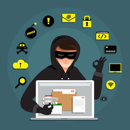 Flat design concept hacker activity cyber thief on internet device. Vector illustrate.