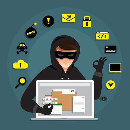 Flacher Konzepthacker-Tätigkeits-Cyberdieb des Entwurfes auf Internet-Gerät. Vektor veranschaulichen. Vektorgrafik