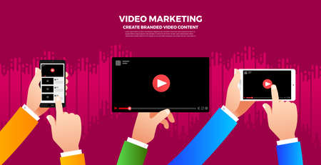 Flat design vlog concept. Create video content and make money. Vector illustrate 版權商用圖片 - 97938169