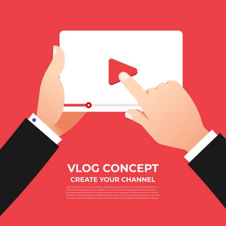 Flaches Design-Vlog-Konzept. Erstellen Sie Videoinhalte und verdienen Sie Geld. Vektor veranschaulichen