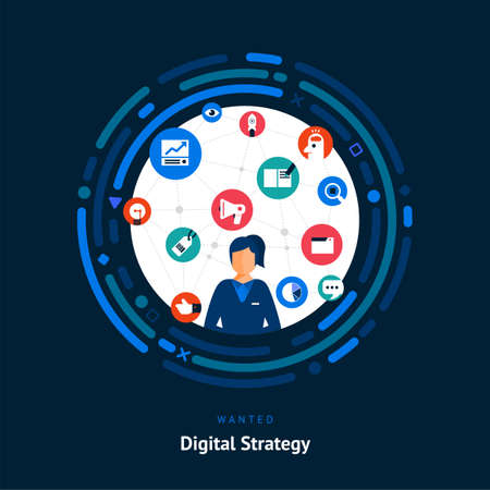 Illustrate flat design concept digital strategy. Advertising and marketing communication people who is a planer in job. Vector Иллюстрация
