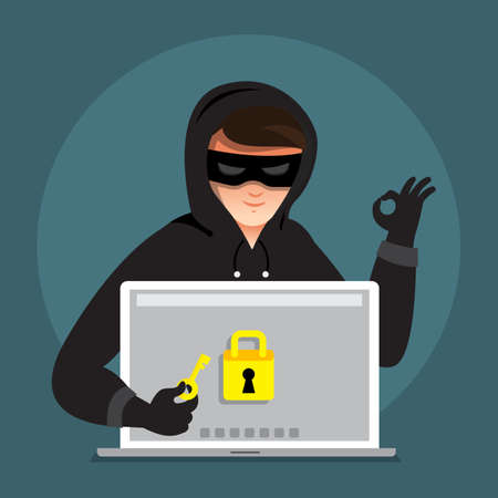 Flat design concept hacker activity cyber thief on internet device. Vector illustrate. Standard-Bild - 97938309