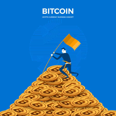 Flat design concept bitcoin mining success. The businessman stand on coin mountain. Vector illustrate.