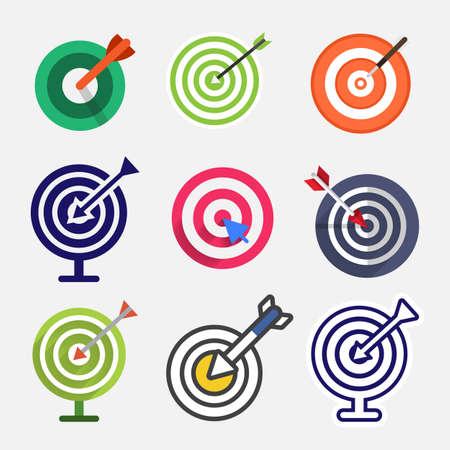 Vector doelpictogram. Illustraties ingesteld object. Stock Illustratie