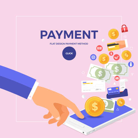 Flat design concept online payment with click on mobile. Vector illustrate. Illustration