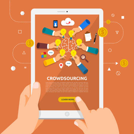 Flat design concept learnning about businecrowdsourcing ss online with hand hold tablet. Vector illustrate. Banque d'images - 97938552