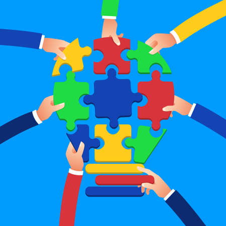 Flat design concept hands teamwork building success business with jigsaw symbol. Vector illustrate.