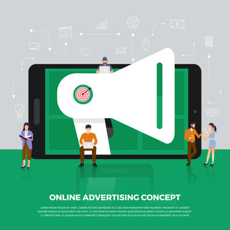 Flat design concept advertising digital marketing.  Group people development icon  Megaphone and internet device meaning to advertising online. Vector illustrate. 向量圖像