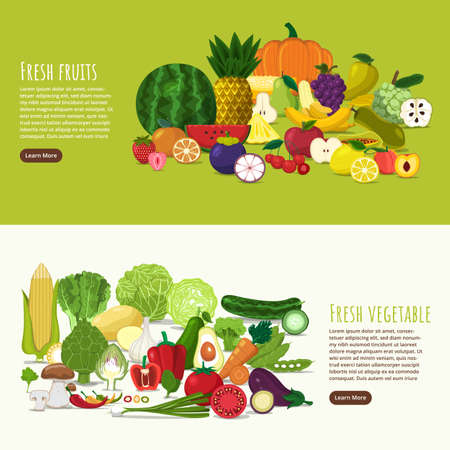 flat design style fruits and vegetable vector set. Illustration