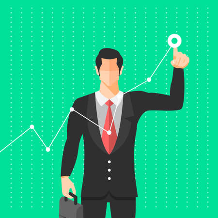 businessman use figer drag graph growth up. Vector illustrate.