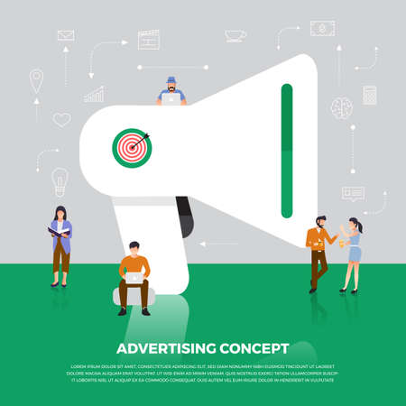 Flat design concept advertising digital marketing.  Group people development icon  Megaphone and internet device meaning to advertising online. Vector illustrate. 일러스트