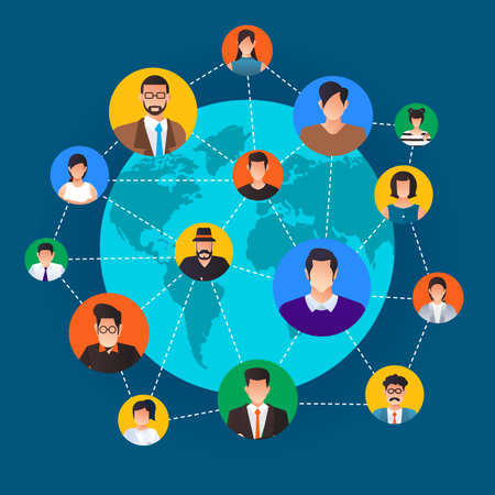 Flat design concept social network. Peoples connecting around the world with line and avatar icon. Vector illustrate.