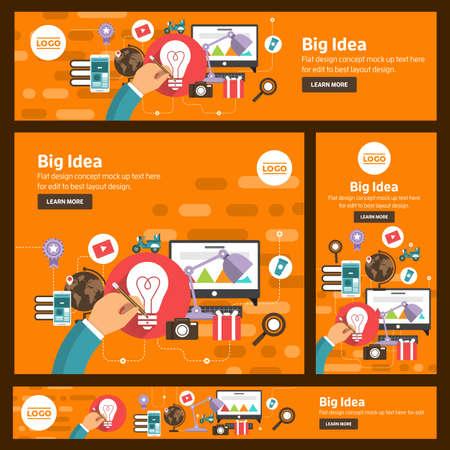 Banner set flat design concept digital marketing. Adaptation to many size banner. Vector illustrate.