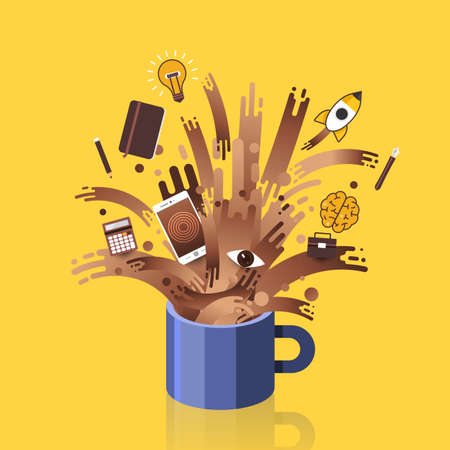 Illustrations concept coffee cup splash wakeup objects for working. Vector flat design.
