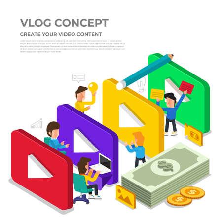 フラットデザインvlogコンセプト。ビデオコンテンツを作成し、お金を稼ぐ。ベクトル図   イラスト・ベクター素材