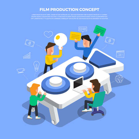 "Flat design concept brainstorm working on desktop icon ""Film Production"". Vector illustrate. Illustration"