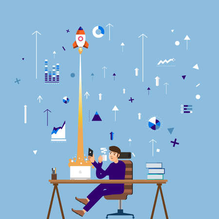 Business man on desktop working for startup marketing growth up to success. Vector illustratrate flat design.