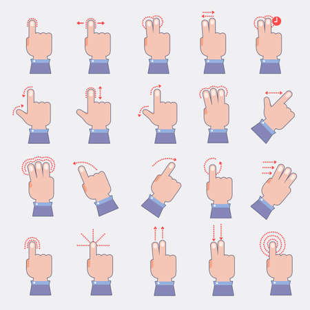 Touch screen instruction. Vector illustrate flat design element. 스톡 콘텐츠 - 97939187