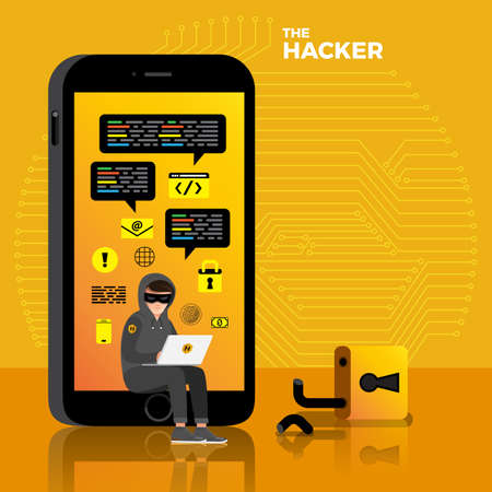 Flat design concept hacker activity cyber thief on internet device. Vector illustrate. Illustration