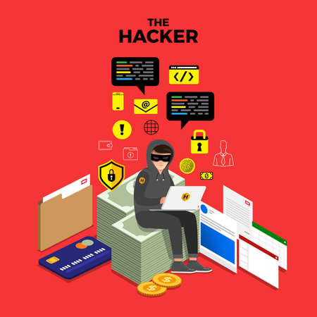 Flat design concept hacker activity cyber thief on internet device. Vector illustrate. Çizim