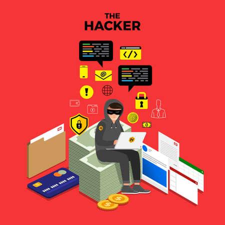 Platte ontwerpconcept hacker activiteit cyber dief op internetapparaat. Vector illustreren.