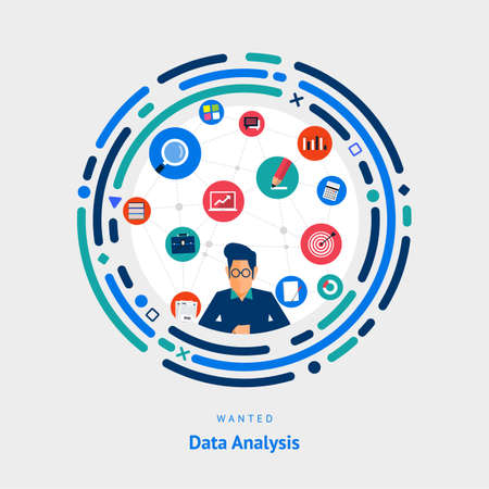 Vector illustrate flat design concept data analysis. people skill for business on data marketing.