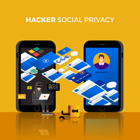 Flat design concept hacker activity cyber thief on internet device. Vector illustrate. Stok Fotoğraf - 97939278