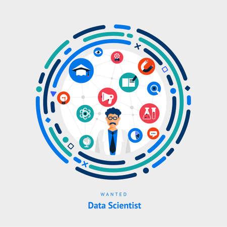 Illustreer platte gegevens concept sceintist. mensen die een kennisbehoefte hebben voor werven Job of specialist in sciene. Vector Stock Illustratie