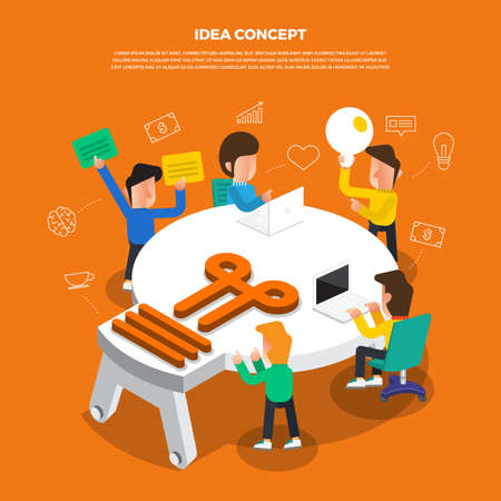 "Flat design concept brainstorm working on desktop icon ""Idea�. Vector illustrate. Stock Illustratie"