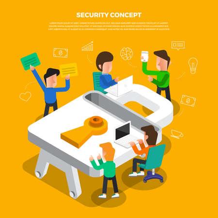 """Lluvia de ideas sobre el concepto de diseño plano trabajando en el icono de escritorio """"Seguridad"""". Vector ilustrar. Foto de archivo - 97939382"""