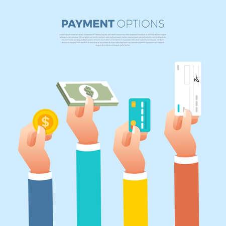 Pagamento di concept design piatto. Metodo di pagamento e opzione o canale per trasferire denaro. Il vettore illustra.