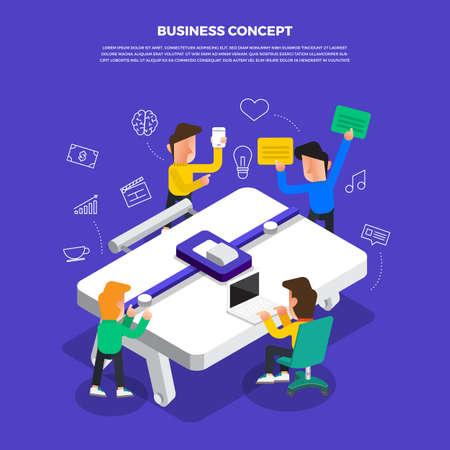 "Flat design concept brainstorm working on desktop icon ""Business"". Vector illustrate."