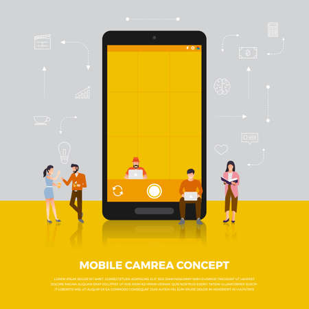 Concepto de diseño plano cámara móvil. Grupo de personas desarrollan icono cámara dispositivo móvil. Vector ilustrar. Foto de archivo - 97939412