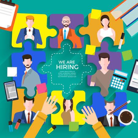Illustrate design concept  finding employee. HR job seeking. Vector illustrate. 일러스트