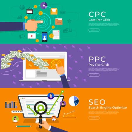 Flat design concept pay per click (ppc), cost per click (cpc) and search engine optimize (seo). Vector Illustrate.