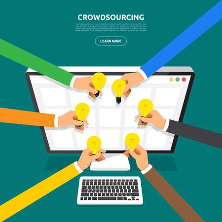 Flat design concept crowdsourcing. Vector illustrate.