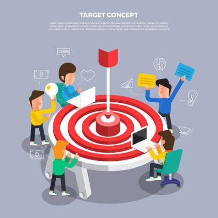 """Flat design concept brainstorm working on desktop icon """"Target"""". Vector illustrate.  Illustration"""