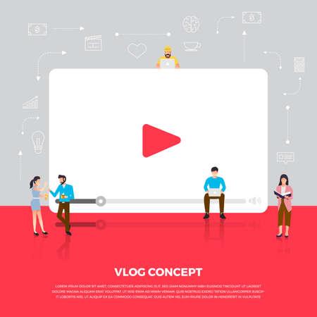 Flat design concept vlog. Team develop channel video online. Vector illustrate.