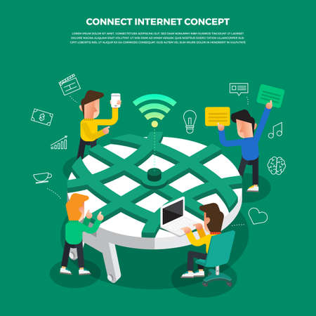 "Flat design concept brainstorm working on desktop icon ""Connect Internet"". Vector illustration."