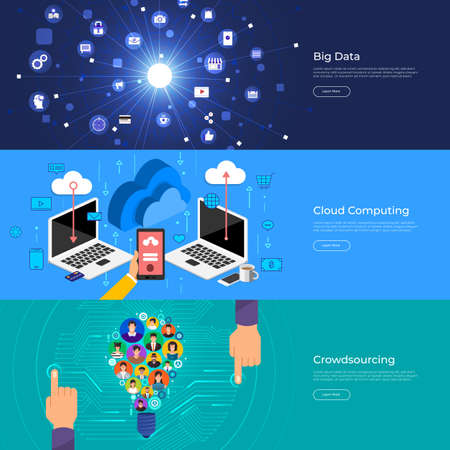 Flat design concept big data, cloud computing and crowdsourcing. Vector Illustrate. Banque d'images - 97993304