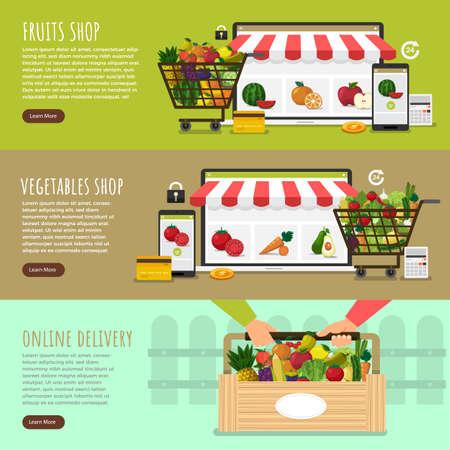 Illustration dessign concept healthy foods online store as fresh fruits and fresh vegetables. Vector set banner template.