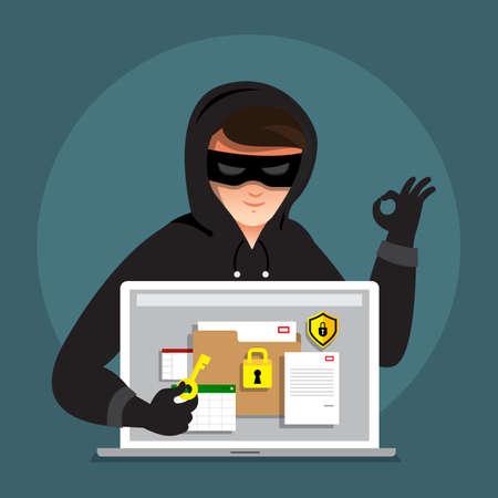 Concepto de diseño plano hacker actividad ciber ladrón en dispositivo de internet. Vector ilustrar. Foto de archivo - 97939696