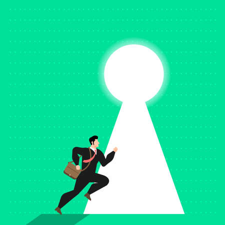 Illustrate concept businessman run to door sign a key of success. Vector flat design.  Illustration