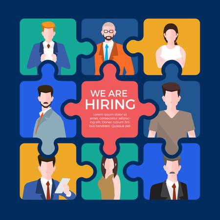 Illustrate design concept  finding employee. HR job seeking. Vector illustration. Illustration