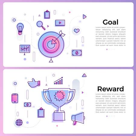 "Thin line icon layout design flat design concept ""goal reward"". Vector illustrate."