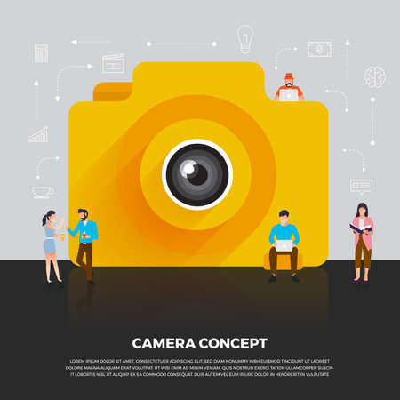 Flat design concept camera mobile. Group people develop icon camera mobile device. Vector illustrate.