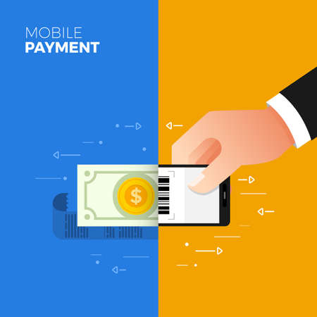 Flat design concept payment. Payment method and option or channel to transfer money. Vector illustration.