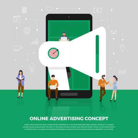 Flat design concept advertising digital marketing. Group people development icon  Megaphone and internet device meaning to advertising online. Vector illustration.